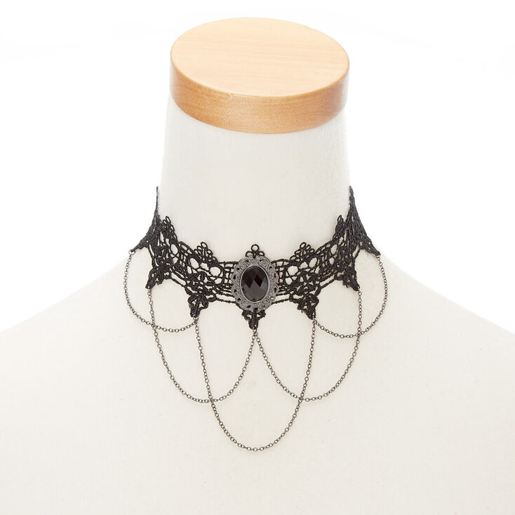 Lace Chain Choker Necklace - Black,