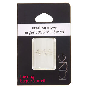 Sterling Silver Crystal Leaf Toe Ring,