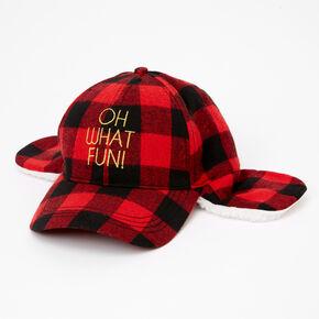 Oh What Fun Plaid Trooper Baseball Cap - Red,