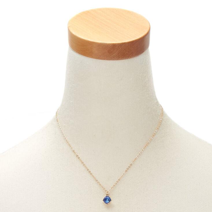 September Birth Stone Pendant Necklace - Sapphire,