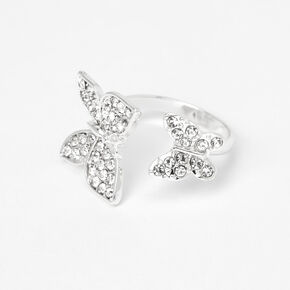 Silver Double Butterfly Open Ring,