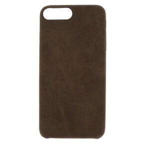 Faux Leather Phone Case - Brown,