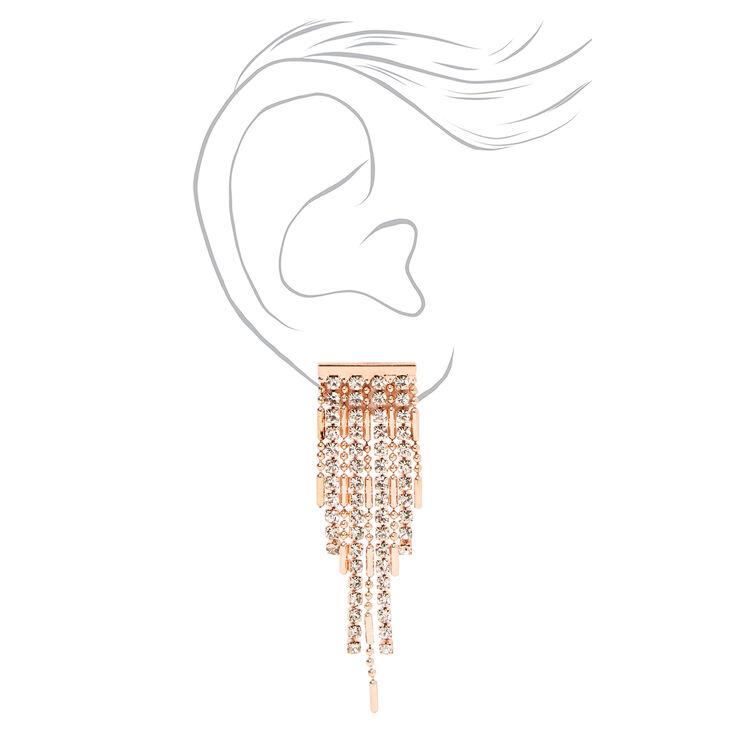 Rose Gold Rhinestone Chandelier Y-Neck Jewelry Set - 2 Pack,