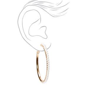Gold 50MM Pearl Lined Hoop Earrings,
