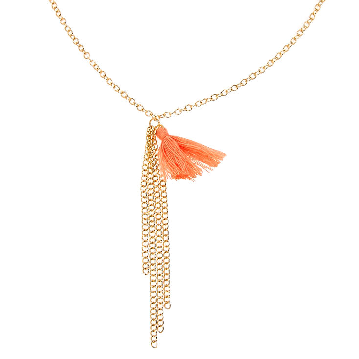 Gold & Peach Tassel Sunglasses Chain,