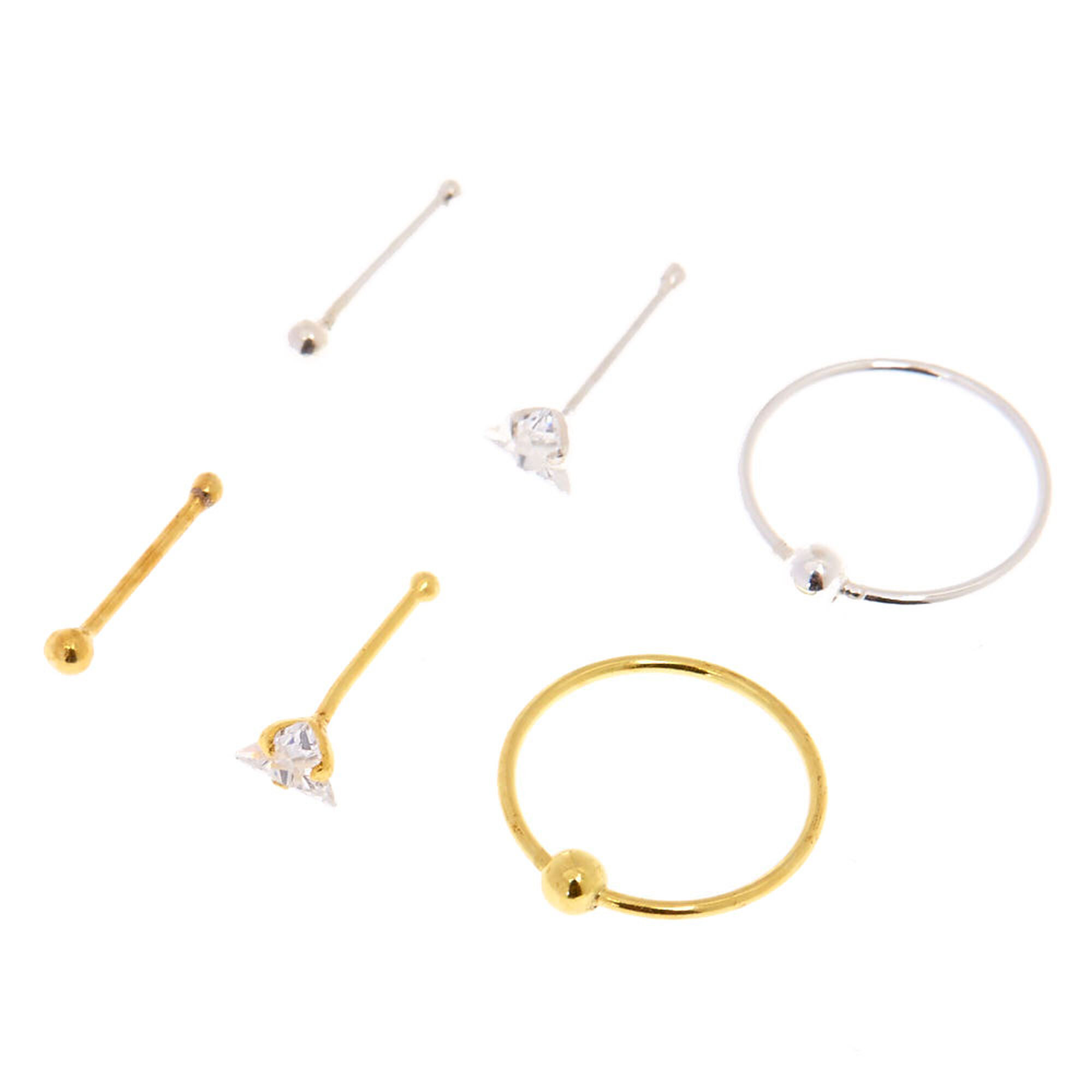 Triangle Cubic Zirconia Crystal Nose Studs Hoops