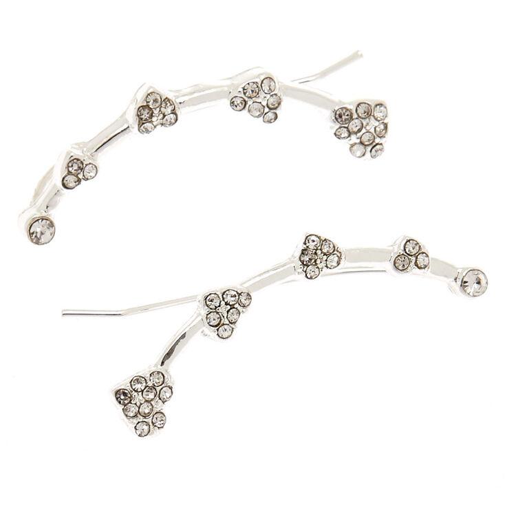 """Silver 1"""" Crystal Heart Ear Crawler Earrings,"""
