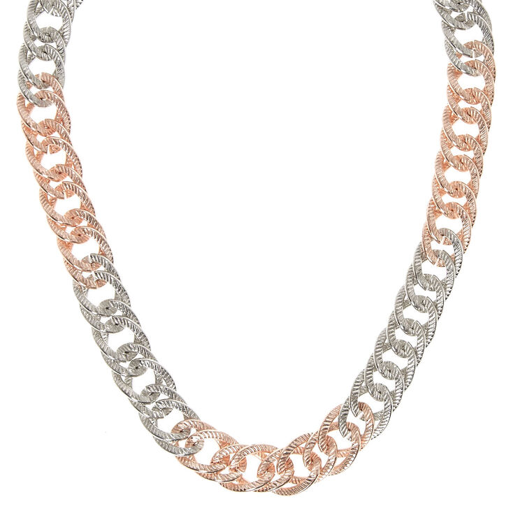 Silver & Rose Gold-Tone Chunky Chain Necklace,
