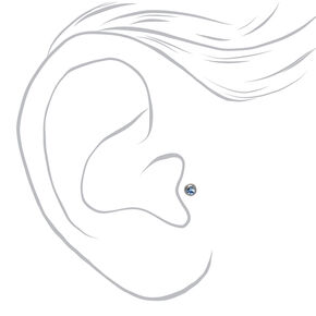 Silver Titanium 16G Mixed Crystal Tragus Stud Earrings - 3 Pack,