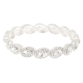 Silver Rhinestone Halo Stretch Bracelet,