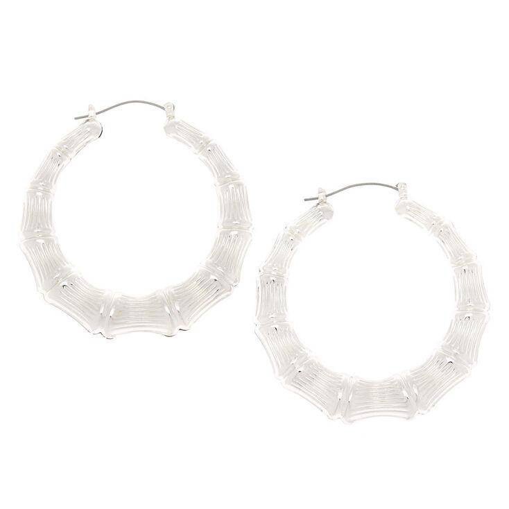 Silver 60MM Bamboo Hoop Earrings,