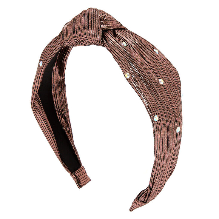 Metallic Twist Stone Headband - Rose Gold,