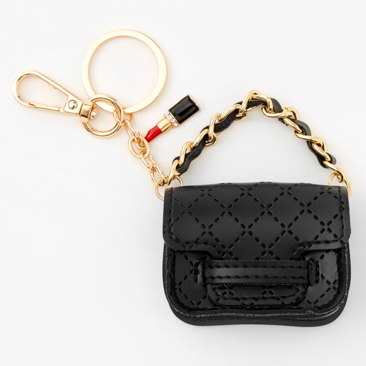 Quilted Mini Purse Keychain - Black,