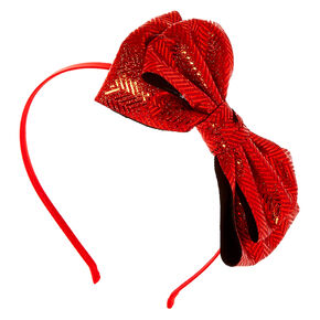 Chevron Glitter Bow Headband - Red,