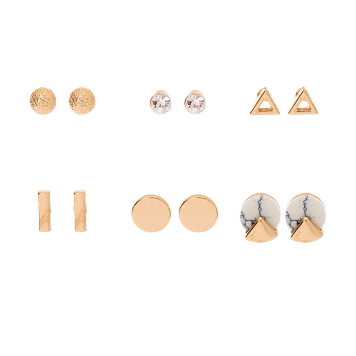 Gold Marble Stud Earrings - 6 Pack,