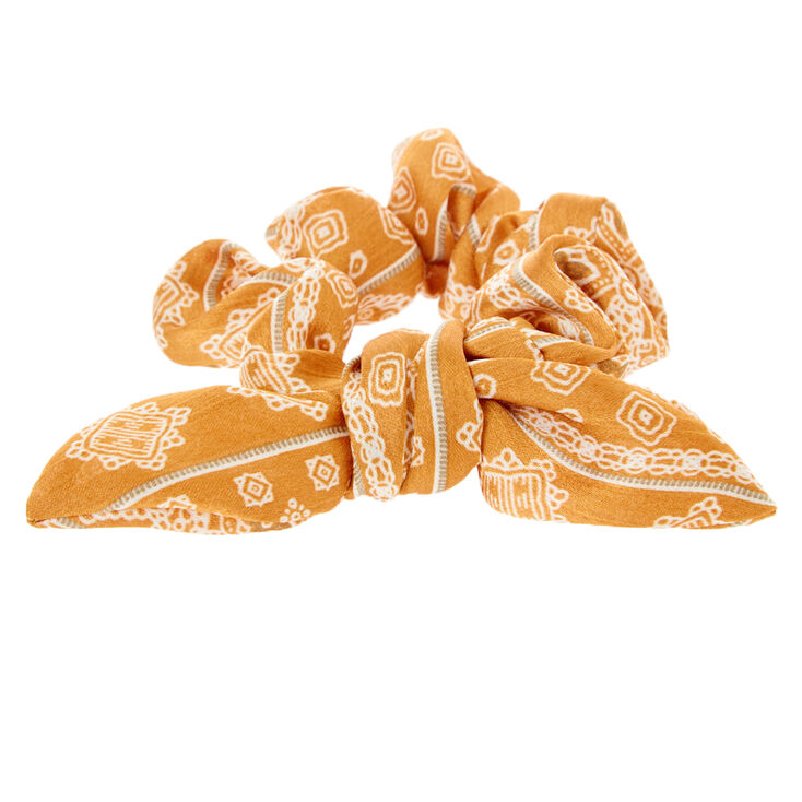 Silk Paisley Knotted Bow Hair Scrunchie - Mustard,