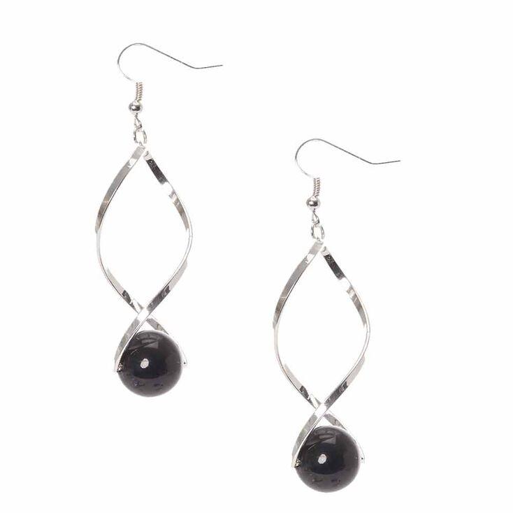 Silver Tone Open Swirl  with Black Bead  Drop Earrings,