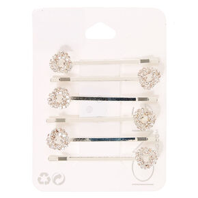 Silver Crystal Knot Bobby Pins,