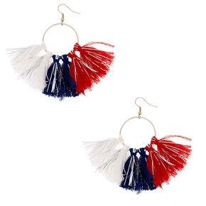 """2.5"""" USA Tassel Drop Earrings,"""