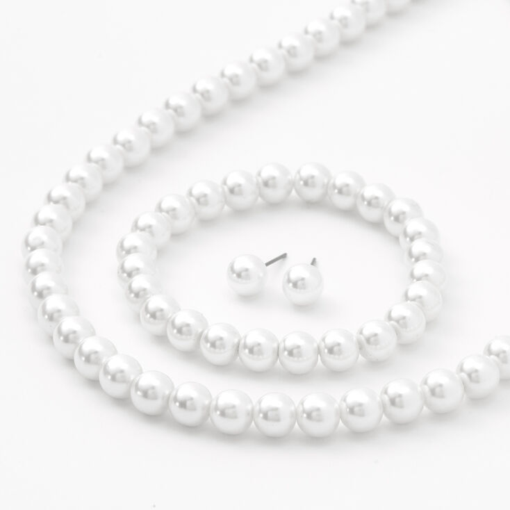 White Pearl Jewelry Set - 3 Pack,