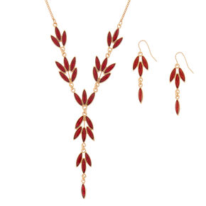 Gold Vine Jewelry Set - Red, 2 Pack,