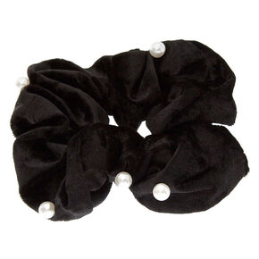 Large Black Velvet Pearl Hair Scrunchie,