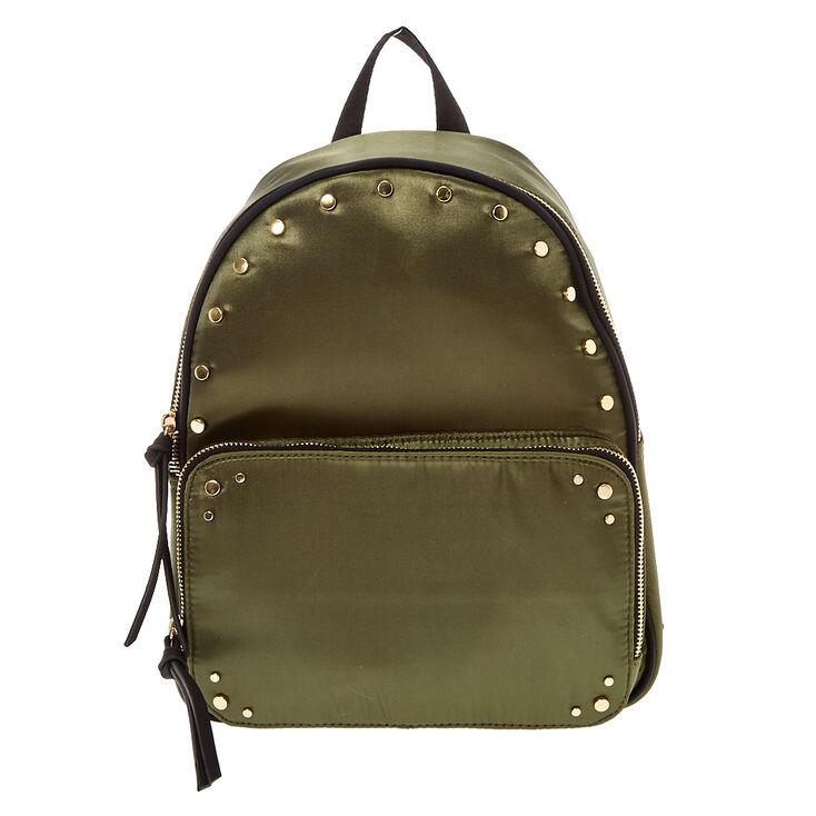 Khaki Green Satin Studded Backpack,