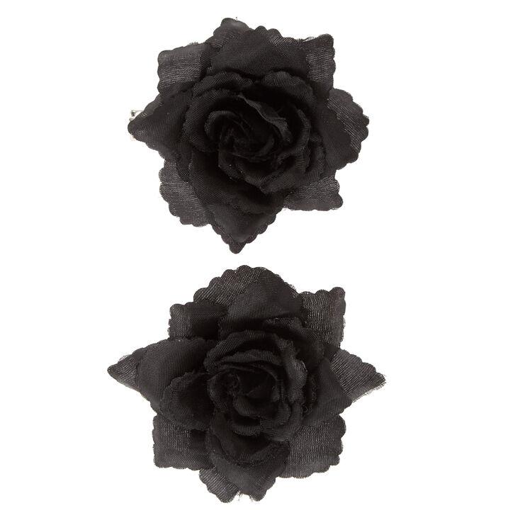 Rose Hair Clips - Black, 2 Pack,