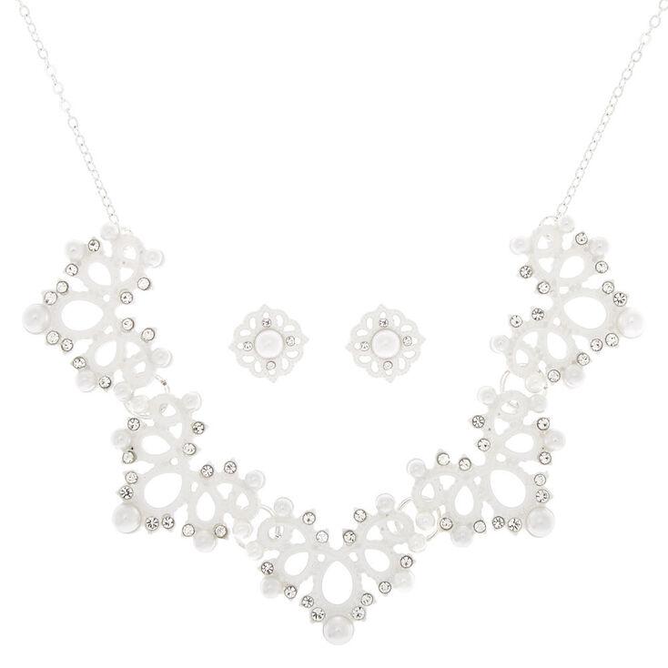 Crochet Pearl Jewelry Set - White, 2 Pack,