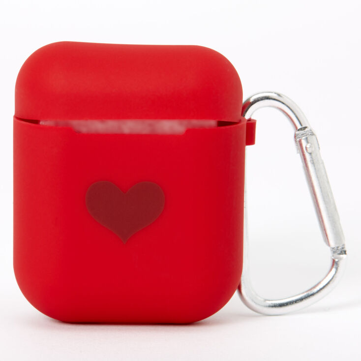 Red Heart Silicone Earbud Case Cover - Compatible With Apple AirPods,