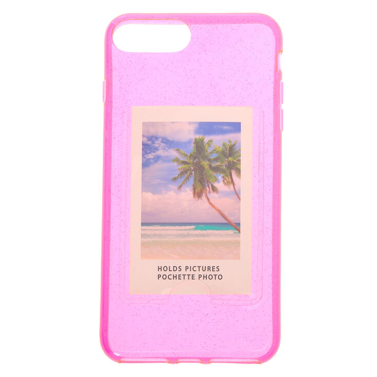 Pink Glitter Instax Mini Pocket Clear Protective Phone Case - Fits iPhone 6/7/8 Plus,