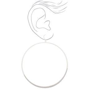 """Silver 3"""" Glitter Large Hoop Drop Earrings - Silver,"""