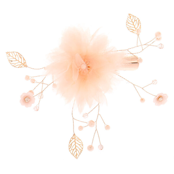 Tulle Flower Hair Clip - Blush Pink,