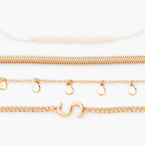 Gold Initial Charm Chain Bracelets - S, 4 Pack,