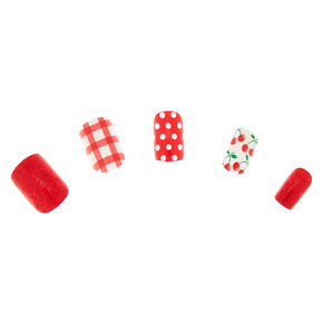 Cherry Faux Nail Set - Red, 24 Pack,
