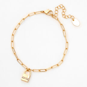 Gold Crystal Padlock Chain Anklet,