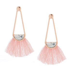 "2"" Marbled Tassel Drop Earrings - Pink,"