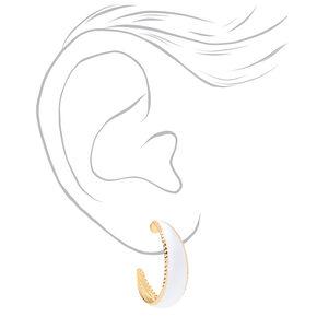 Gold 20MM Textured Mini Hoop Earrings - White,
