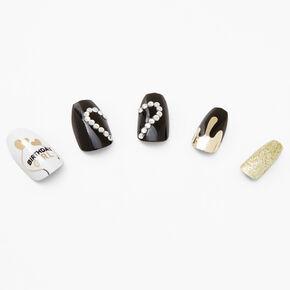 Birthday Girl Coffin Faux Nail Set - Black, 24 Pack,