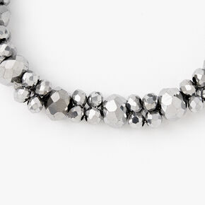 Faceted Beaded Stretch Bracelet - Hematite,