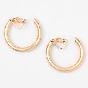 Gold 30MM Tube Clip On Hoop Earrings,