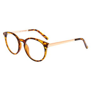 Rose Gold Tortoiseshell Round Clear Lens Frames,