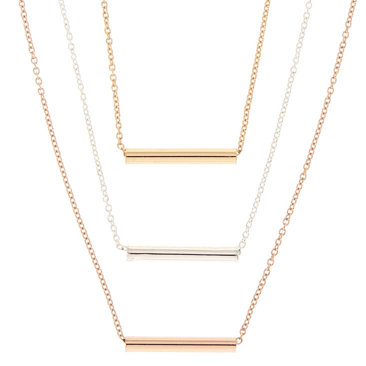Mixed Metal Triple Layer Bar-Tube Necklace,