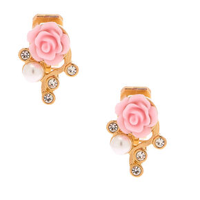 Gold Crystal Rose Clip On Stud Earrings - Pink,