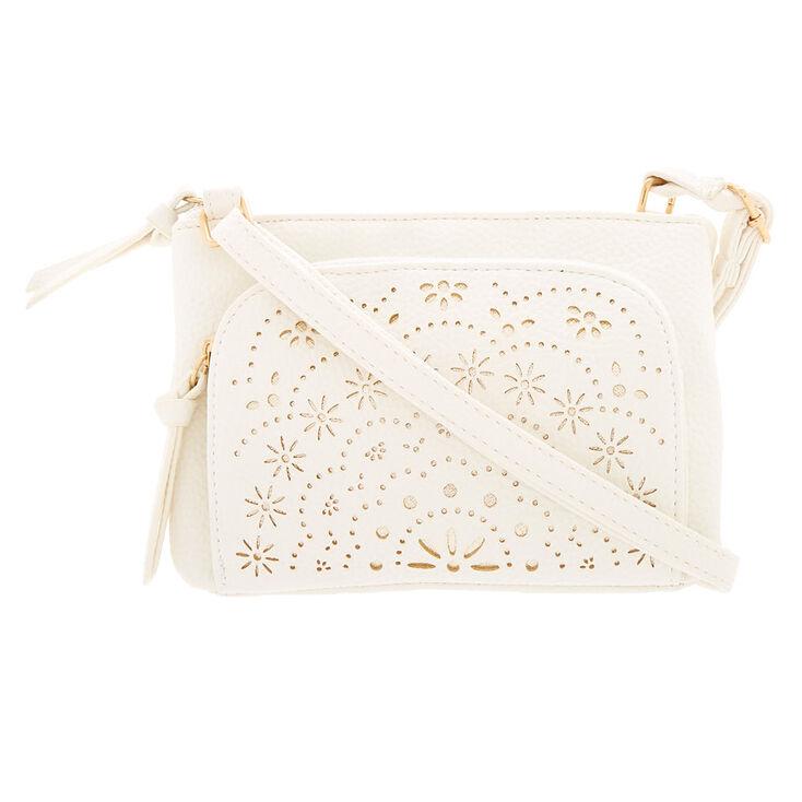Filigree Cut Perforated Crossbody Bag - White,