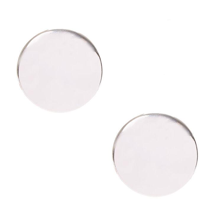 Silver Disc Oversized Stud Earrings,