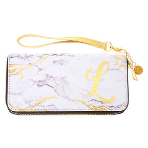 Marble Initial Wristlet - L,