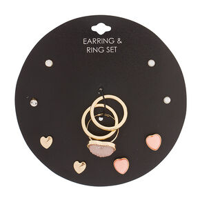 Pink Hearts Earrings & Rings Jewelry Set,