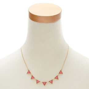 Pink Triangle Statement Necklace & Earrings Set,