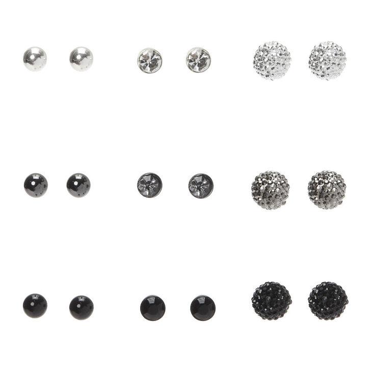 Mixed Metal Fireball Stud Earrings - 9 Pack,